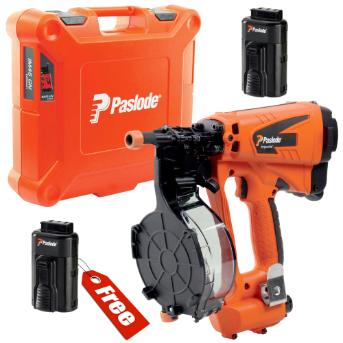 Paslode IM45 Coil Nail Gun + Spare Battery