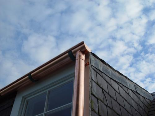 Copper gutter and rainwater pipe